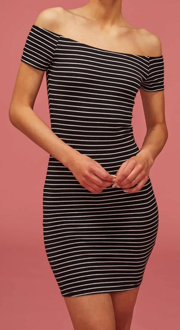 Černé dámské pruhované šaty (Bavlněné dámské šaty v černé barvě )