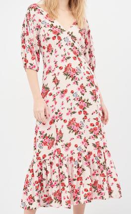 Stradivarius květované šaty (Dámské midi šaty značky Stradivarius)