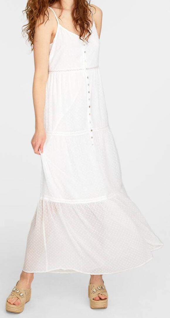 Stradivarius bílé šaty na ramínka (Dámské dlouhé šaty značky Stradivarius)