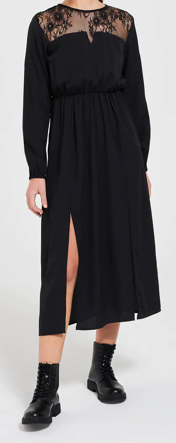 Dámské černé dlouhé šaty (Černé šaty s krajkou značky Terranova)
