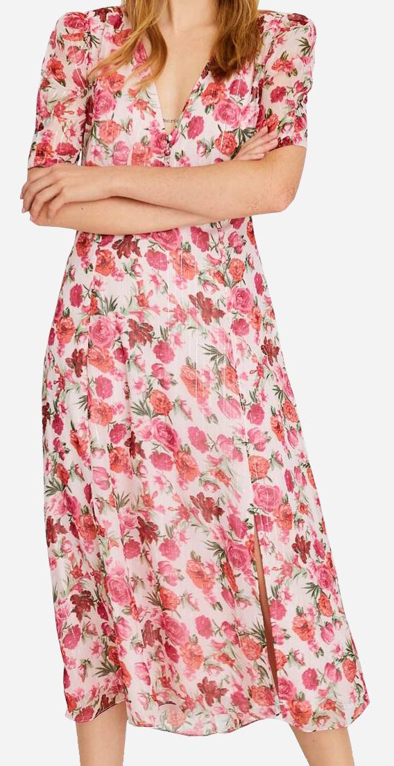 Květované šaty Stradivarius (Dámské midi šaty značky Stradivarius)
