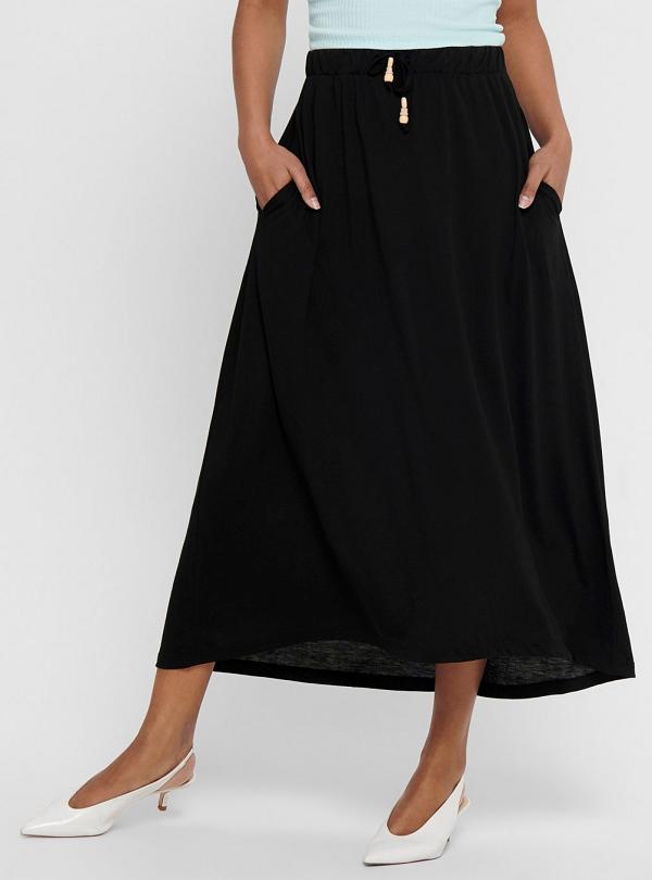 Černá dlouhá sukně (Dlouhá dámská sukně v černé barvě )