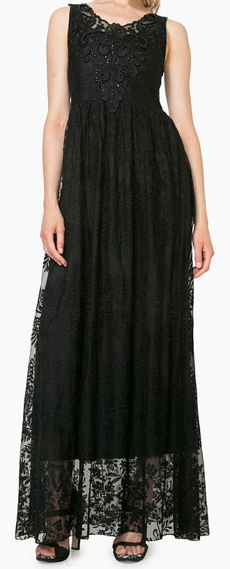 Dámské luxusní dlouhé šaty Desigual (Černé dlouhé dámské šaty značky Desigual)
