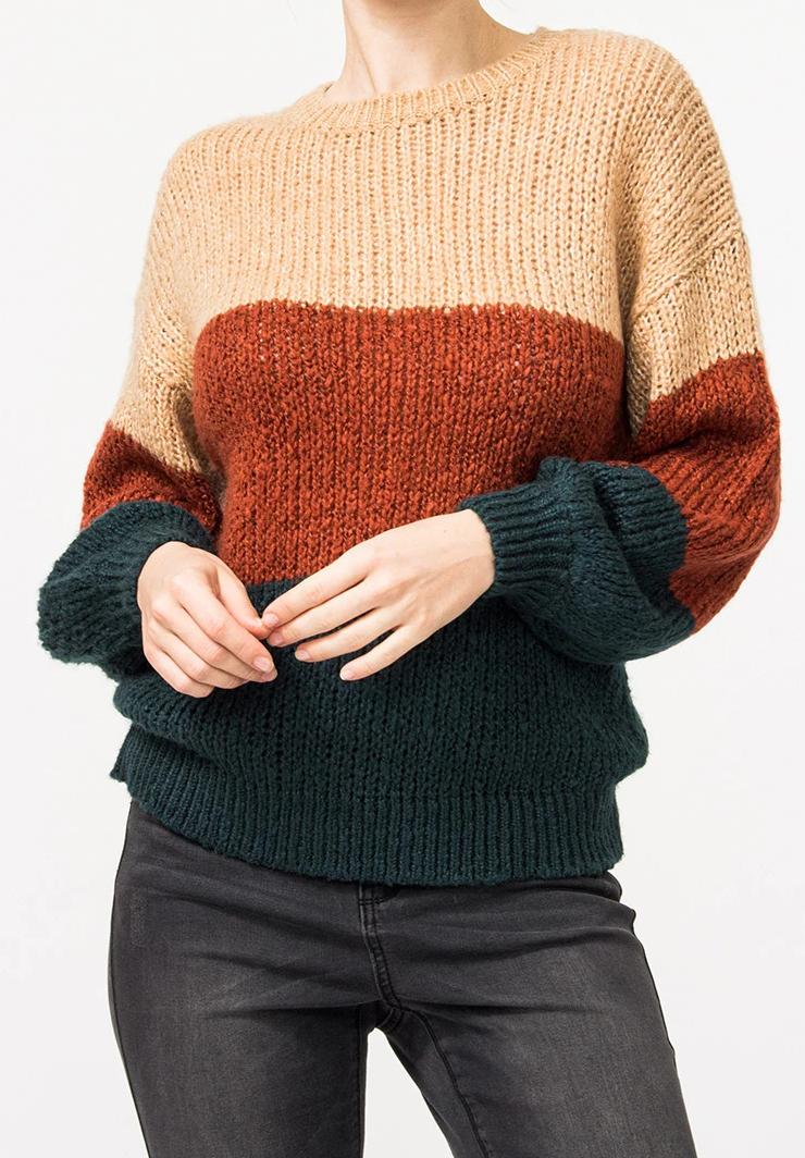 Dámský svetr (Trendy svetr s pruhy )