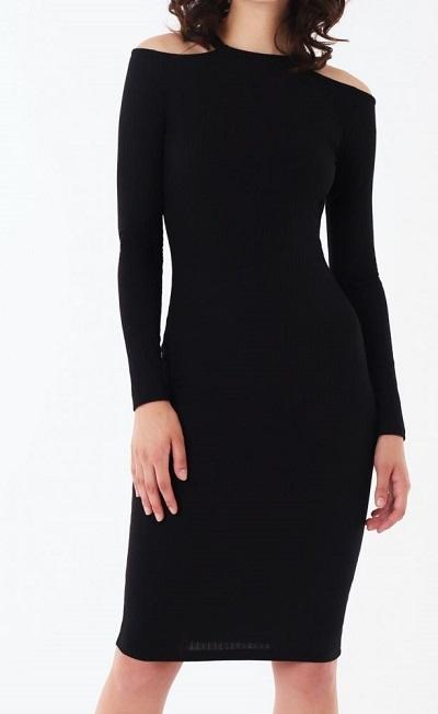 Dámské černé úpletové šaty (Přiléhavé dámské šaty v černé barvě )