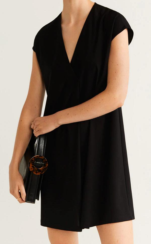 Dámské volné černé šaty (Černé dámské šaty s krátkým rukávem)