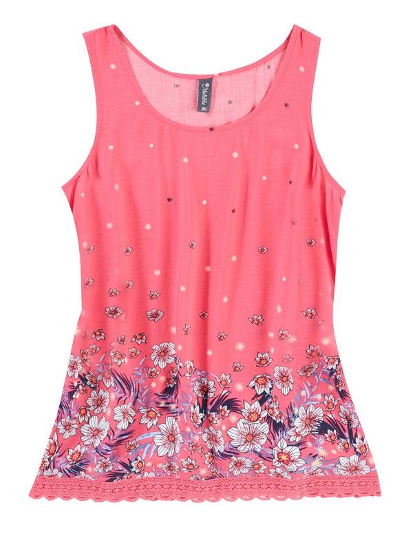 Dámský růžový viskózový top (Letní dámské tílko v růžové barvě)