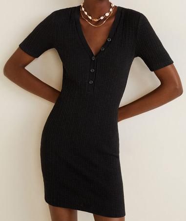 Dámské úpletové černé šaty (Černé dámské šaty s krátkým rukávem)
