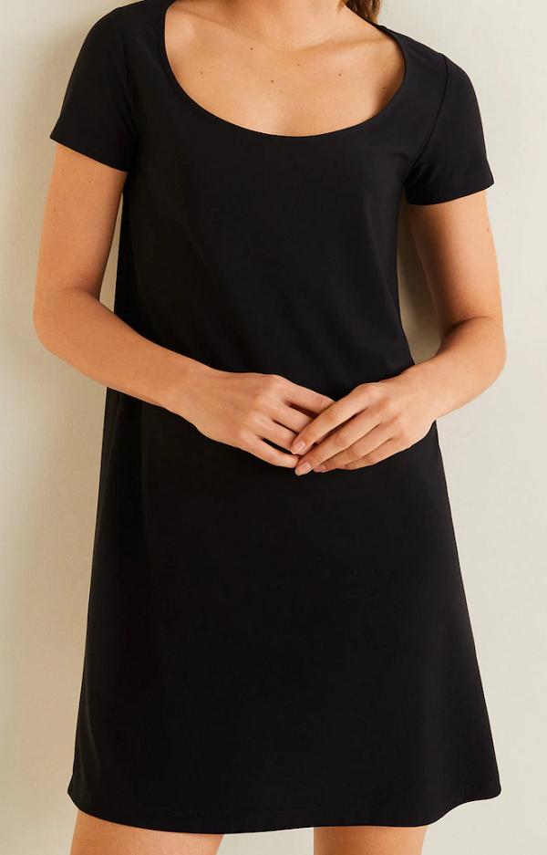 Dámské krátké černé šaty (Černé dámské šaty s krátkým rukávem)