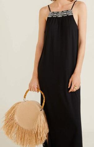 Dámské dlouhé černé šaty (Trendy dámské šaty na tenká ramínka)