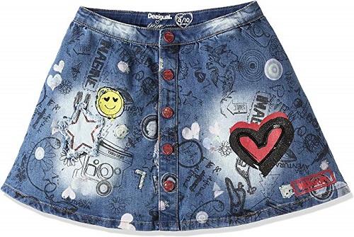 Dětská jeans sukně Desigual (Dívčí krátká džínová Desigual sukýnka)